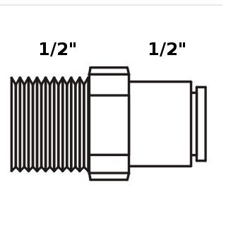 "Tiger Straight Adaptor 1/2"" tube x 1/2"" NPT"